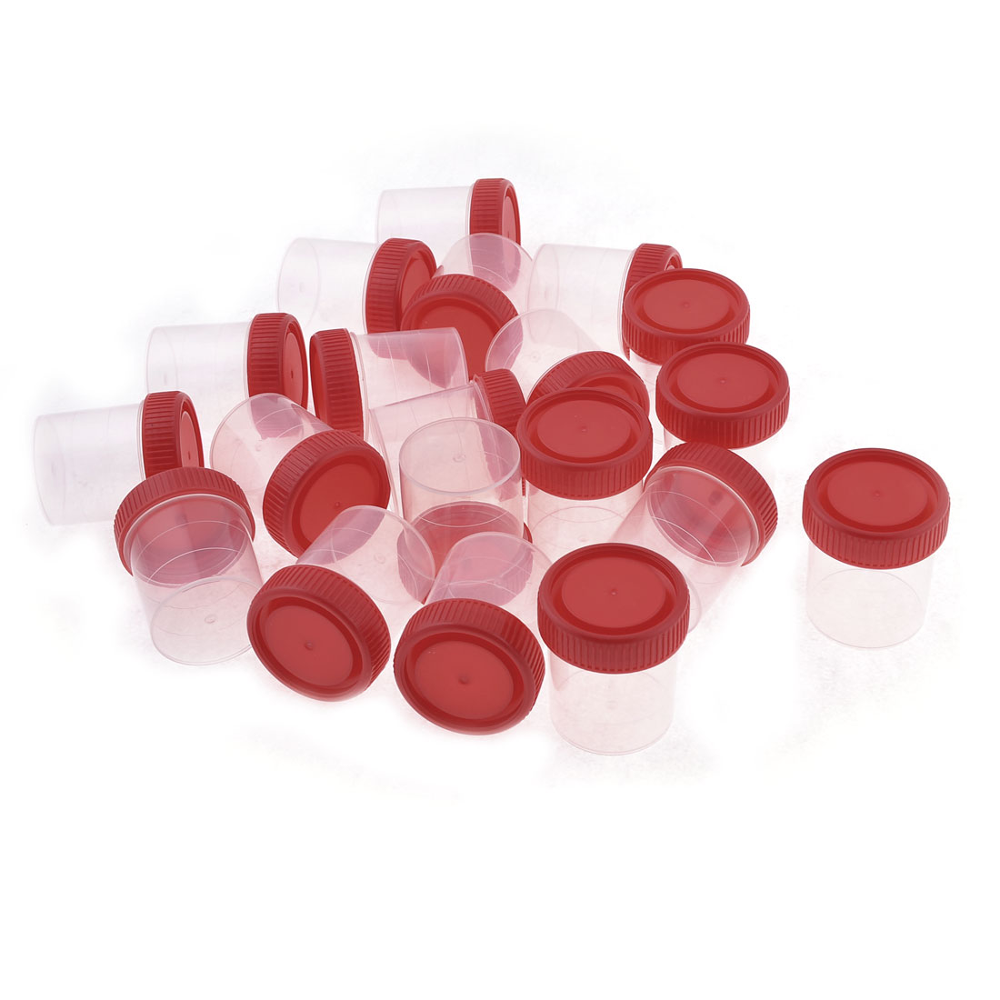20pcs Clear Plastic Rounded Shaped Urine Test Cups 60mL w Red Cover