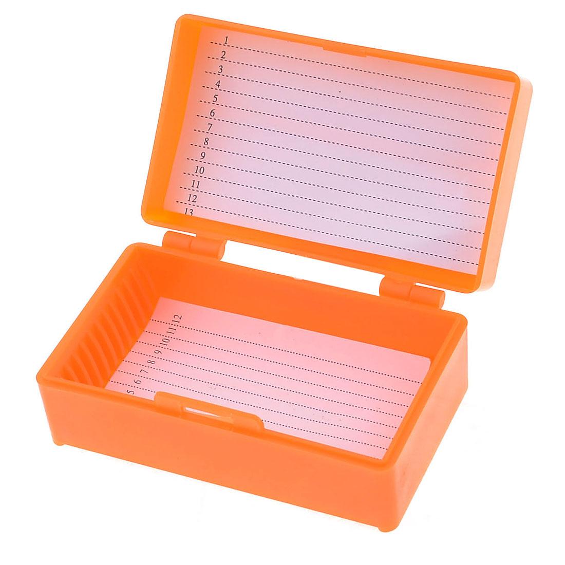 "Orange Plastic Rectangle Shape 12 Slides Microscope Box 3.1"" x 1.8"""