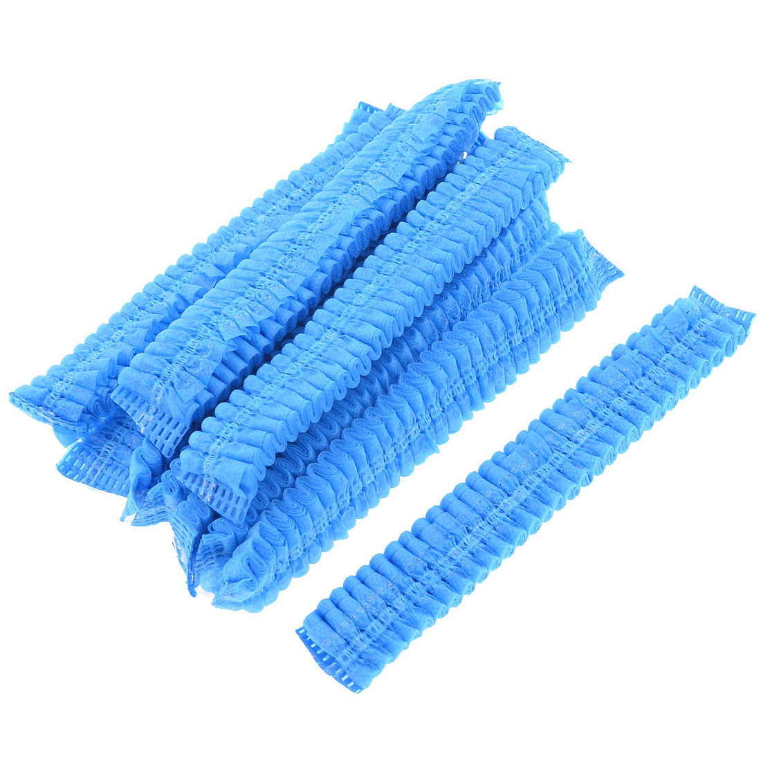 10 Pcs Light Blue Non-woven Elastic Disposable Shower Bathing Cap
