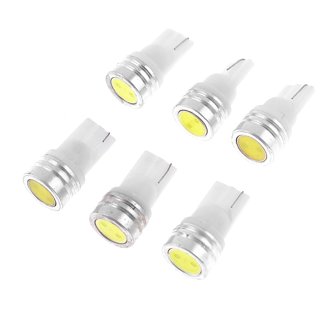 6 Pcs T10 168 White LED Bulbs Interior Gauge Light 12V 1W for Automobile
