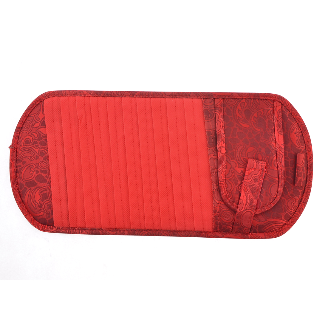 Car Elastic Band Red Flower Print Nylon 11 Pockets CD Storage Visor Holder