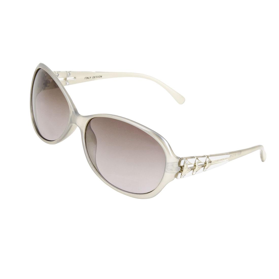 Plastic Gray Full Frame Rhinestone Inlaid Eyewear Sunglasses for Ladies