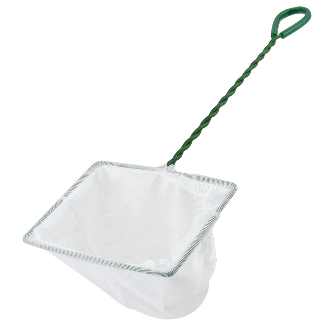 Green Plastic Coated Handle Goldfish Shrimp White Nylon Net