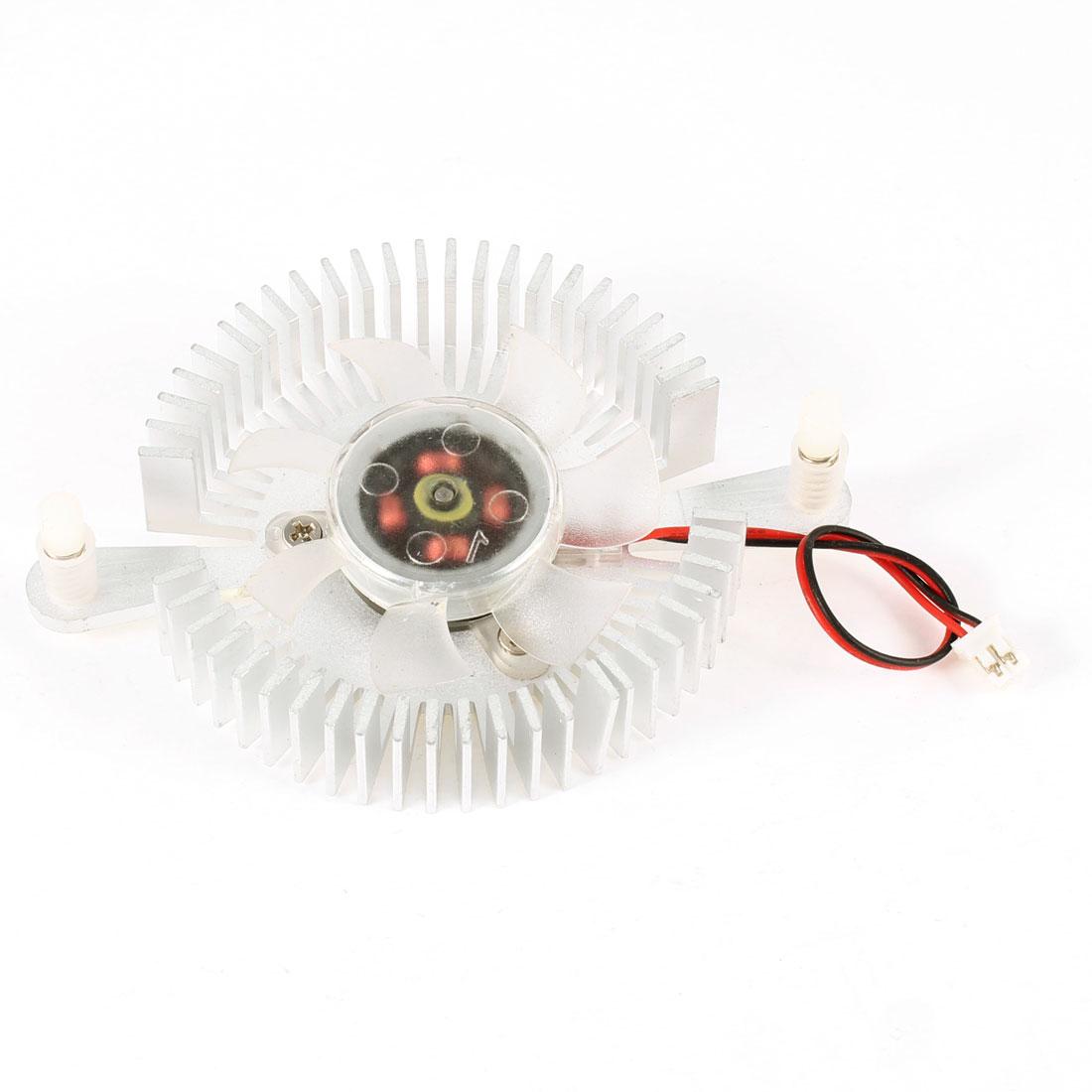 PC Silver Tone Aluminum VGA Video Card Cooling Fan Round Heatsink 64mm