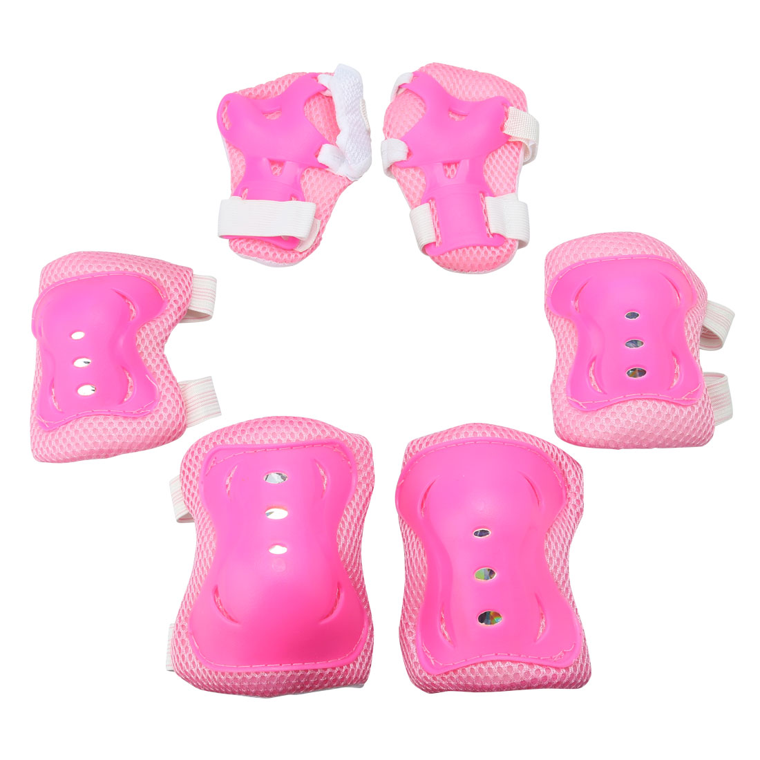 Kids Skating Knee Palm Elbow Wrist Guard Support Brace Pad Pink 6 in 1 Set