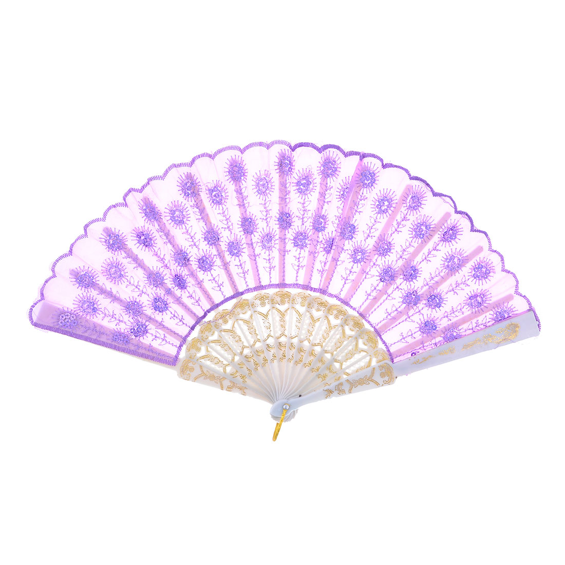 Light Purple Sequin Floral Plastic Frame Folding Hand Fan for Dancing