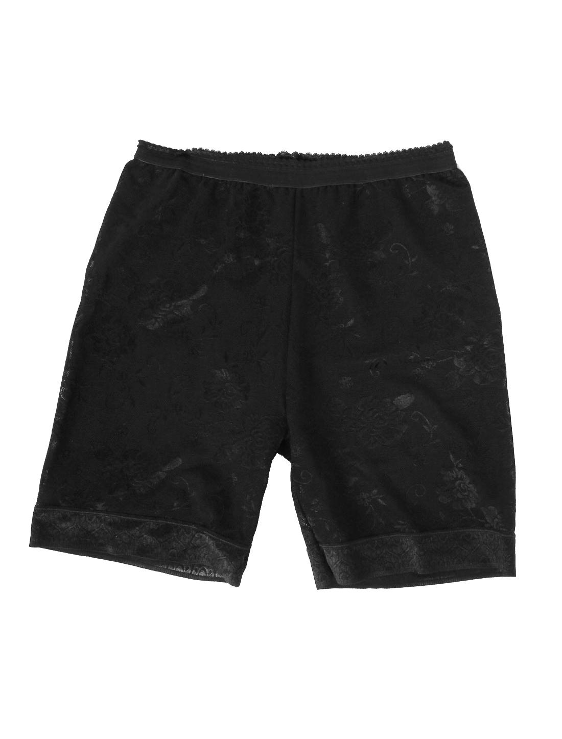 Ladies Flower Print Elastic Waist Safety Shorts Pants Black S