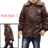 Boys Convertible Collar Button Up Embroidery Detail Jacket Coffee 7