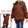 Boys Zip Closure Button Decor Fashion Jacket Brown 7