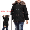 Boys Removerable Furry Collar Pockets Design Jacket Black 7