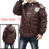 Boys Dark Brown Zip-Up Closure Warm Hooded Faux Leather Jacket 7X