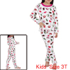 Kids Stretchy Waist Ladybugs Prints Pajama Sets White 3T