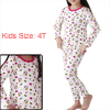 Boys Girls Cartoon Animal Prints Shirt w Elastic Waist Pants Pyjamas Set White 4T