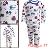 Boys Girls Long Sleeved Letters Prints White Pajama Sets 3T