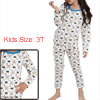 Kids Long Sleeved Cartoon Prints White Pajama Sets 3T