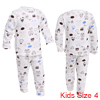 Boys Girls Round Neck Stretch Pants Car Prints White Pajama Sets 4