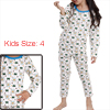 Boys Girls Cartoon Bear Prints White Pajama Sets 4