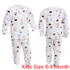 Boys Girls Pullover Long Sleeve Cartoon Pattern Pajama Sets White 6-9 Month