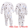 Kids Elastic Waist Letters Prints Pajama Sets White 12 Month