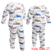 White Round Neck Helicopter Prints Tee w Pants for Girls Boys 2T