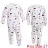 Kids Long Sleeve Stretchy Waist Soft Lining Pajama Sets White 2T