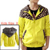 Boys Plaids Lining Leopard Splicing Yellow Hoodie Jacket 8