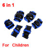 Kids Skating Knee Palm Elbow Guard Support Brace Pad Black Blue 6 in 1 Set
