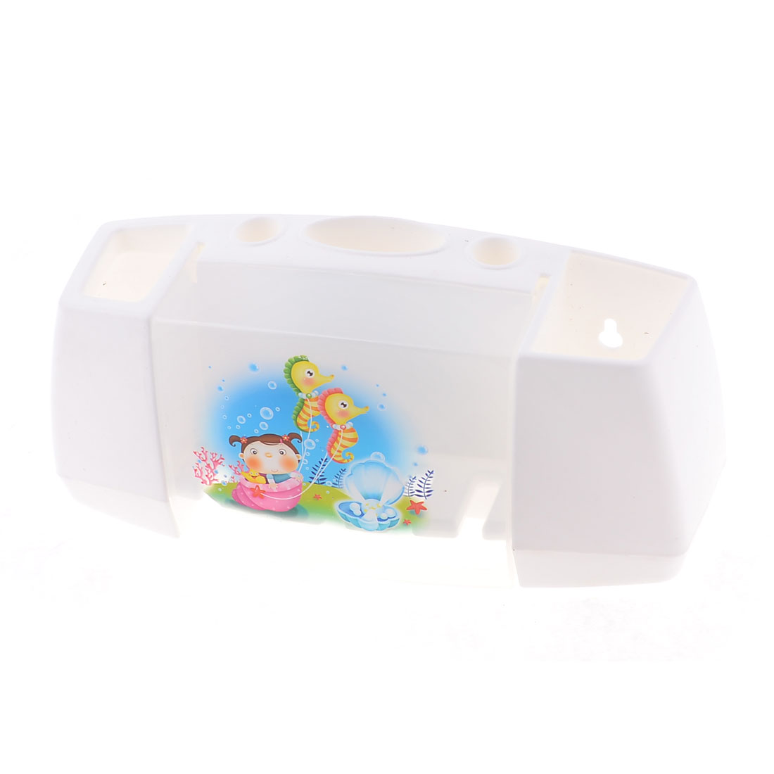 Cartoon Printed White Clear Plastic Home Toothbrush Holder Box