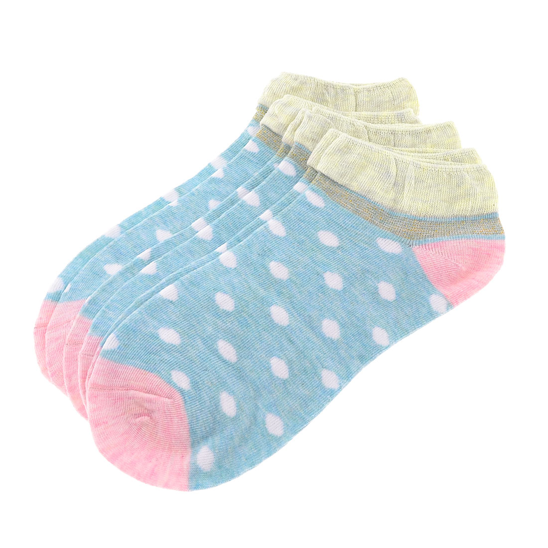 3 Pairs Blue Pink Dots Pattern Elastic Casual Ankle Socks for Woman