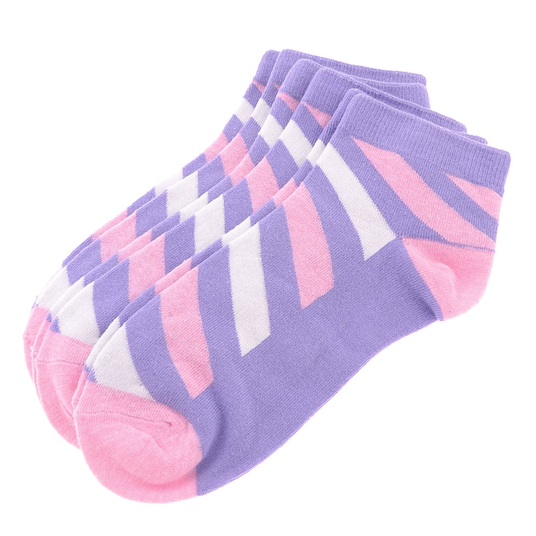 3 Pairs Purple Stripes Pattern Elastic Casual Ankle Socks for Woman