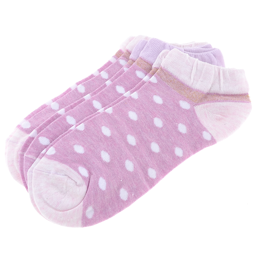 3 Pair Pale Pink Spot Dot Pattern Elastic Ankle Socks for Woman