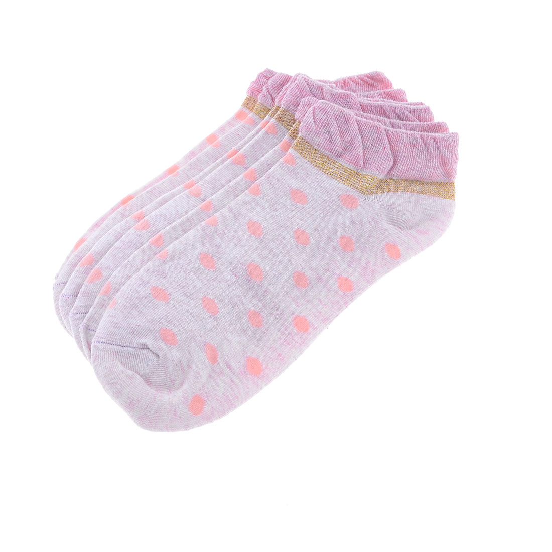3 Pairs Pale Pink Dotted Pattern Elastic Ankle Socks for Woman