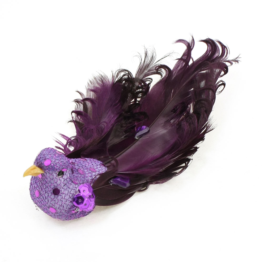 Kitchen Purple Faux Feather Craft Bird Fridge Magnetic Sticker