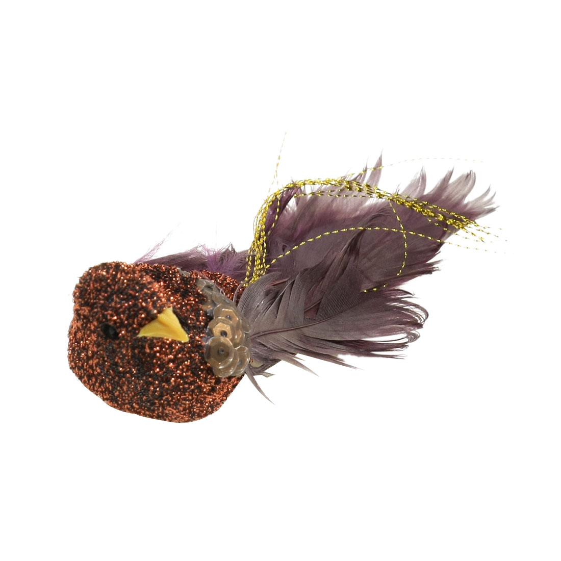 Kitchen Gold Tone Maroon Artificial Bird Fridge Magnet Sticker