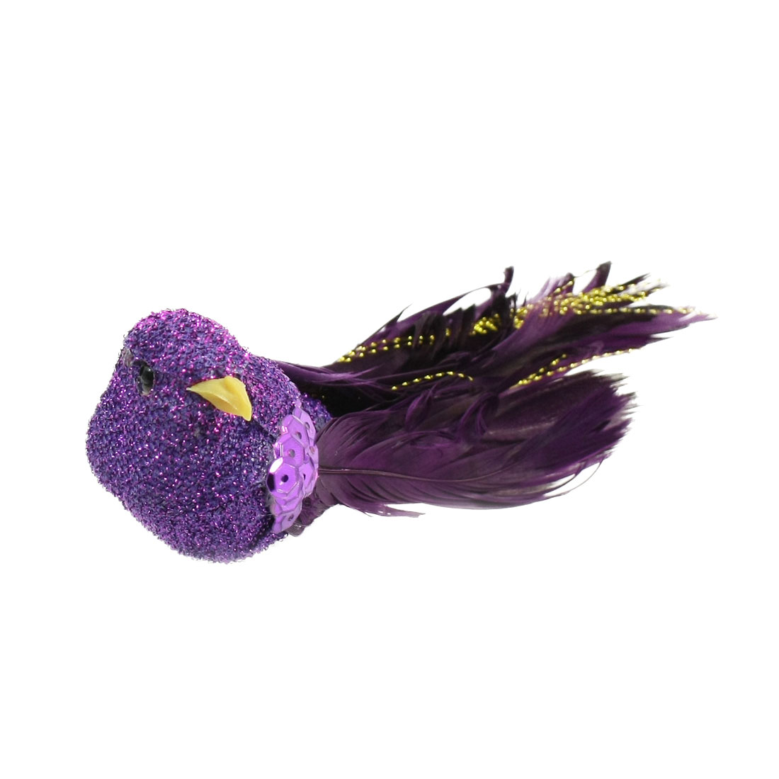 Christmas Ornament Purple Crimp Faux Feather Craft Bird