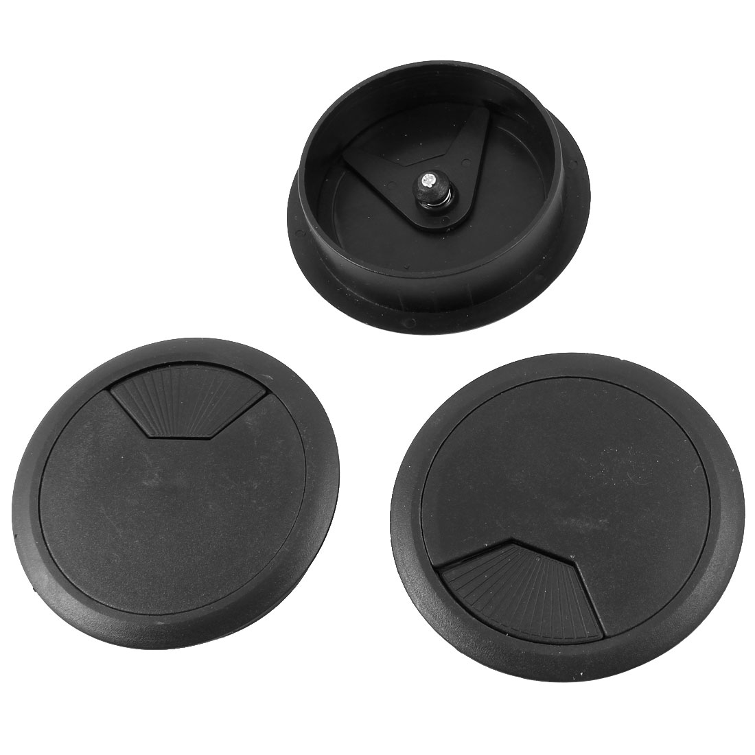 Plastic Desktop Computer 80mm Grommet Cable Hole Cover Black 3 Pcs