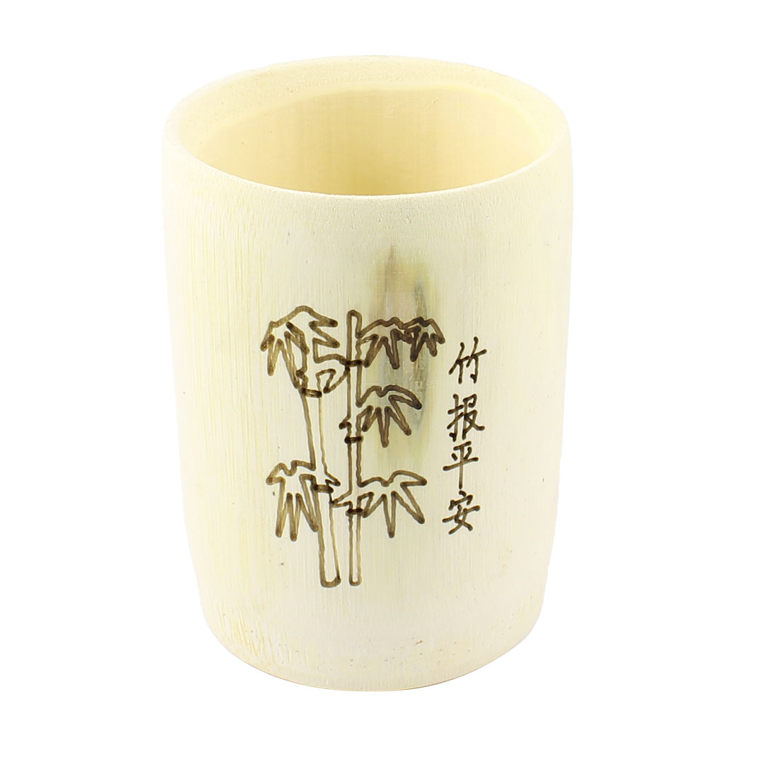 160ml Beige Bamboo Pattern Cylinderical Water Coffee Tea Cup Bottle