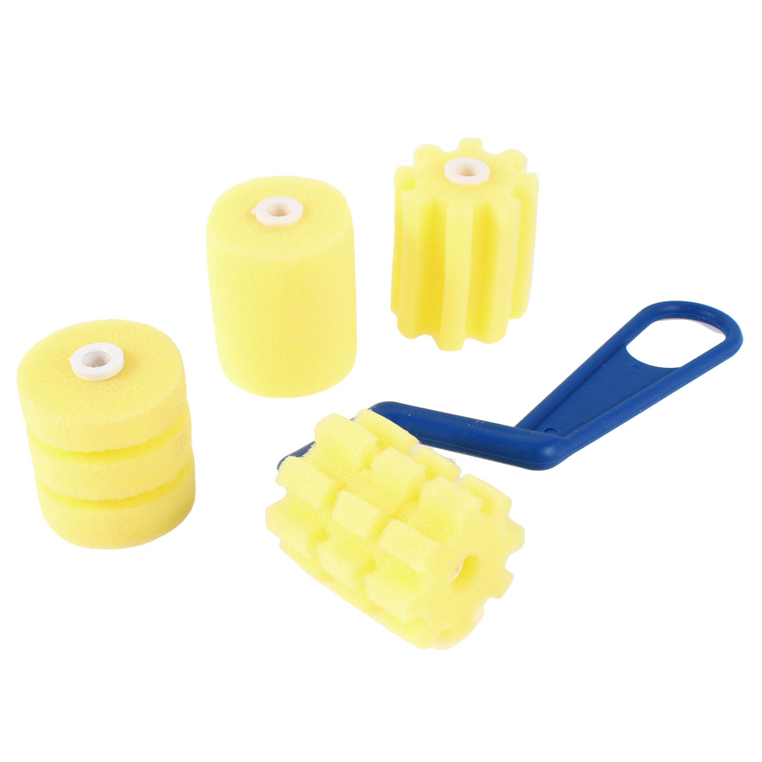 Drawing Blue Handle Yellow Roller Sponges Brush w 3 Sponge Heads