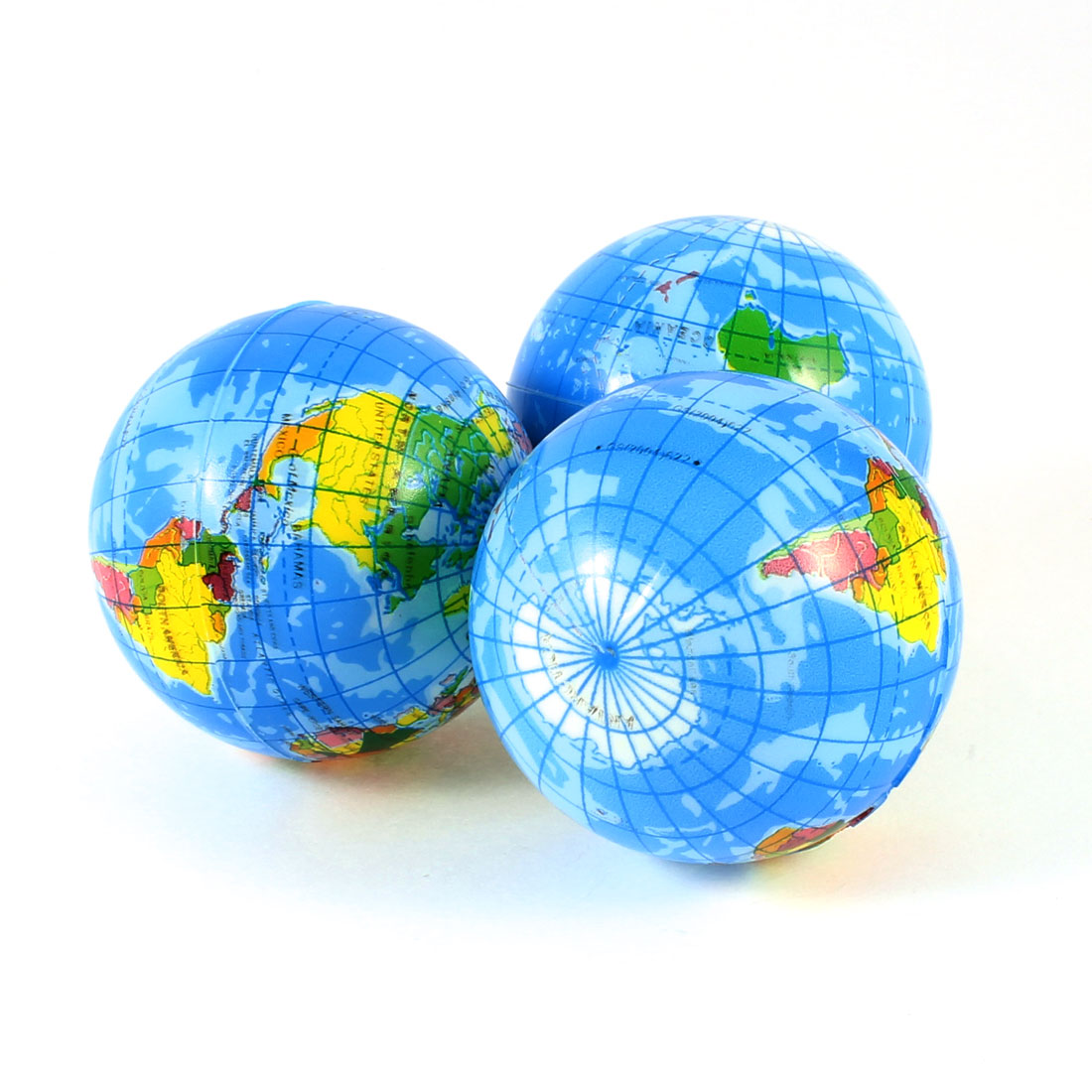 3 Pcs Blue Red Green Sponge Globe Toy for Cognitive Earth