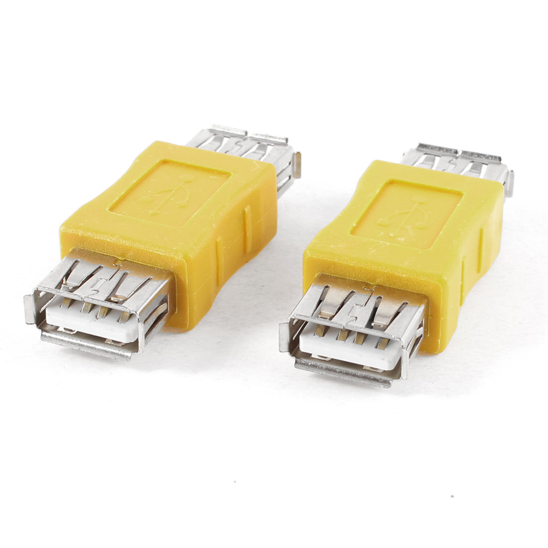 2pcs USB 2.0 Type A Female to Female Connector Adapter Yellow