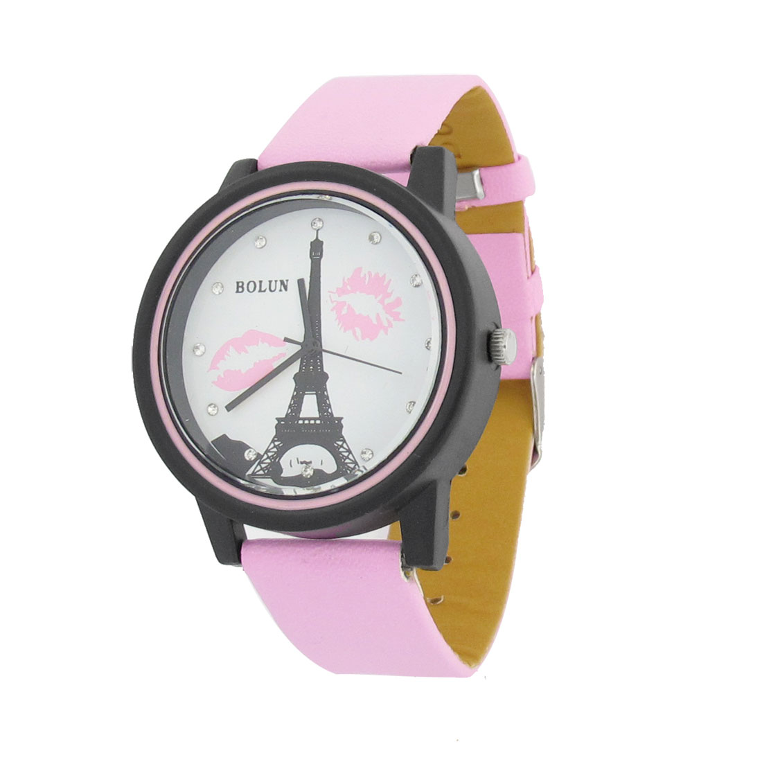 Ladies Pink Adjustable Strap Eiffel Tower Lip Print Wristwatch
