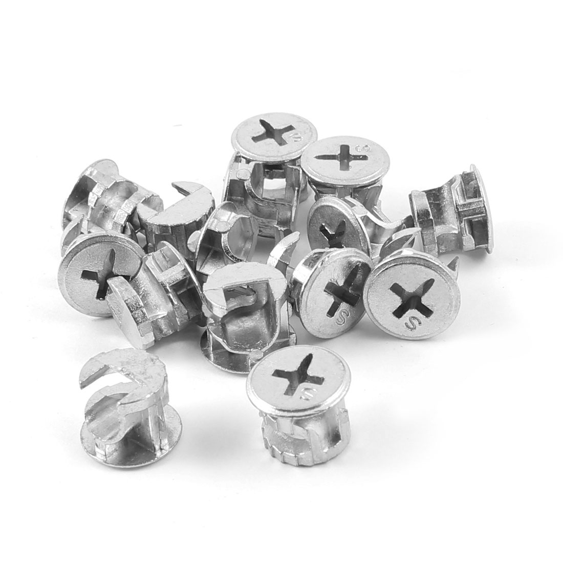 15 Pcs Silver Tone 13mm Dia Head Furniture Connecter Cam Fittings