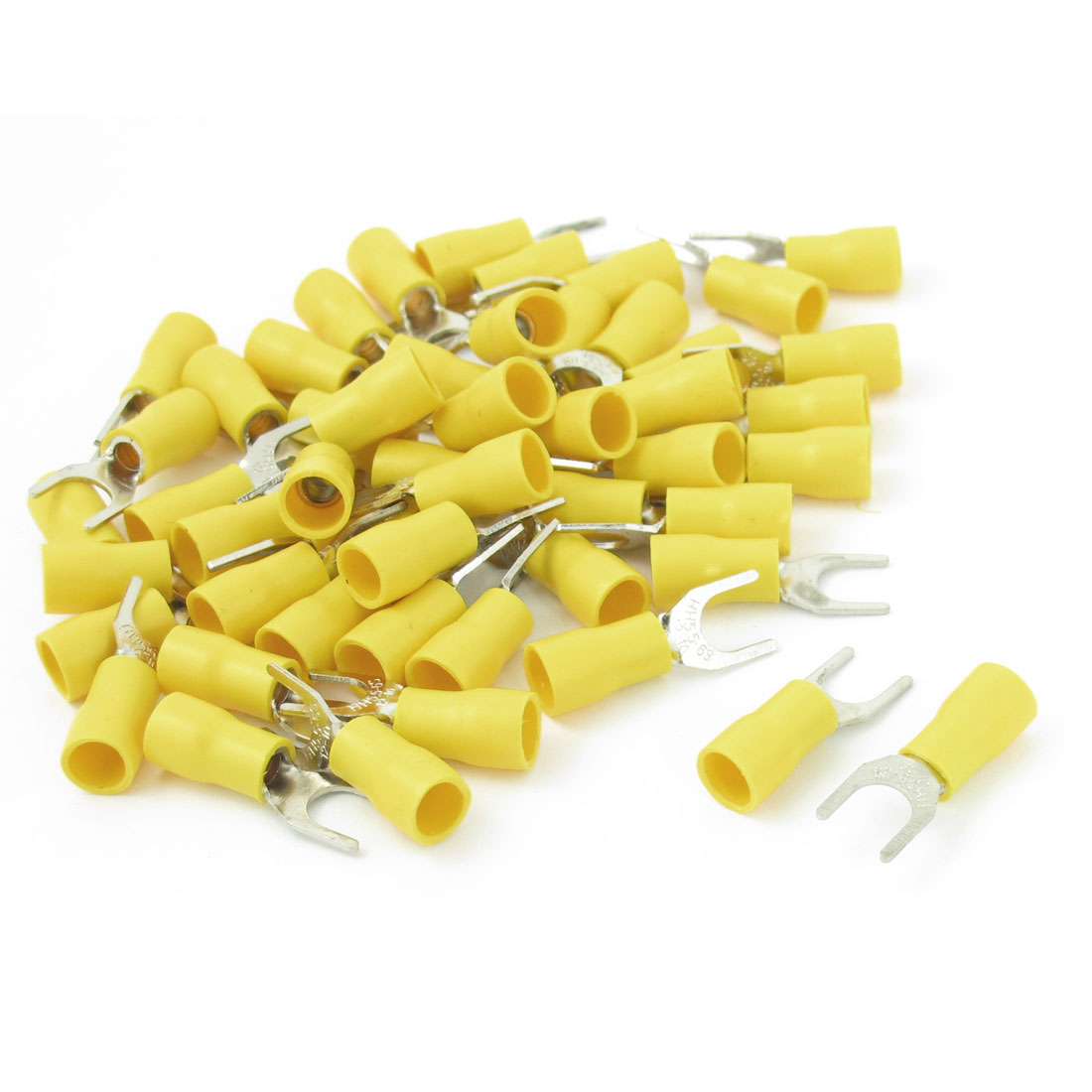 50 Pcs Yellow 6.5mm Bolt Furcate Pre Insulated Fork Terminal AWG12-10