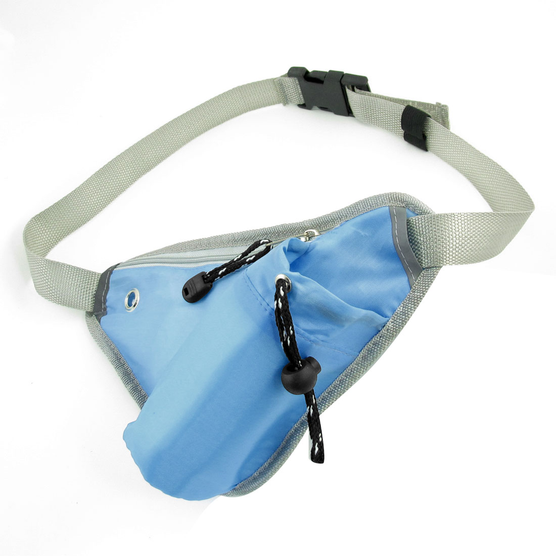 Blue Triangular Zippered Adjustable Strap Sport Bag Pouch Waist Pack
