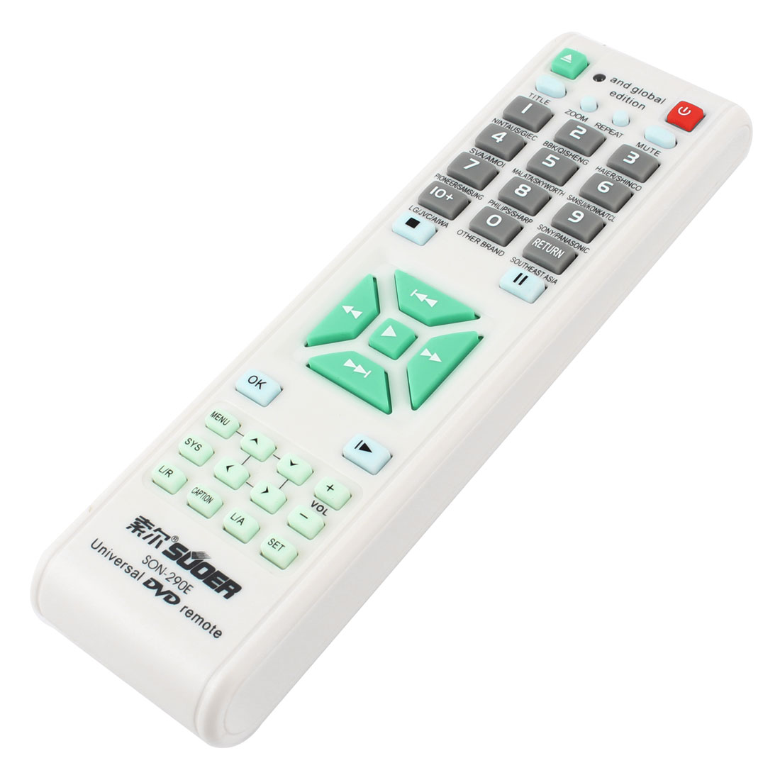 SON-290E Battery Power Universal DVD Remote Control White Gray