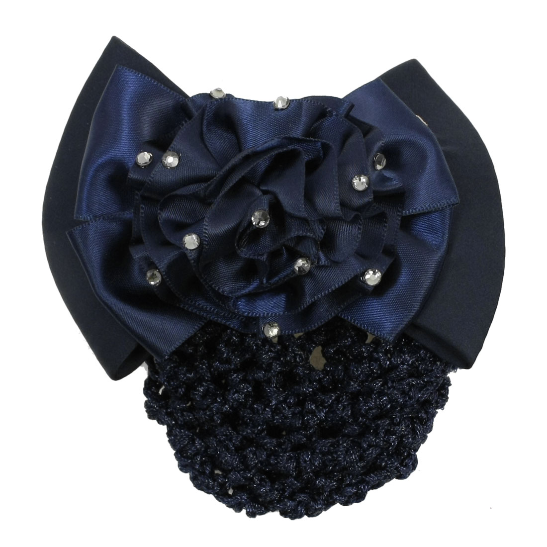 lady Glitter Rhinestones Dark Blue Ponytail Holder Hairclip Hairnet