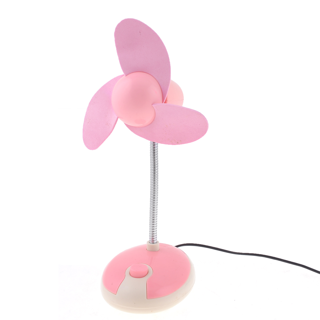 Metal Flexible Neck 3 Foam Flabellums Desktop USB Desk Mini Fan Cooler Pink