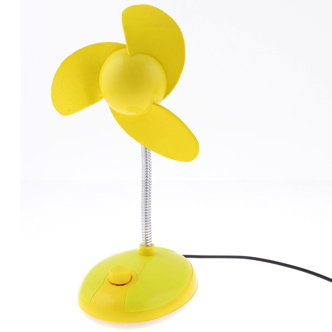 Metal Flexible Neck 3 Foam Flabellums Desktop USB Desk Mini Fan Cooler Yellow