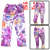 Women Korea Style Stretchy Waist Purple Flowers Print Capris Legging XS
