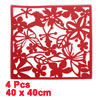 4 Pcs Red Hollow Out Floral Design Wall Screen Panel Decor w Adhesive Tape